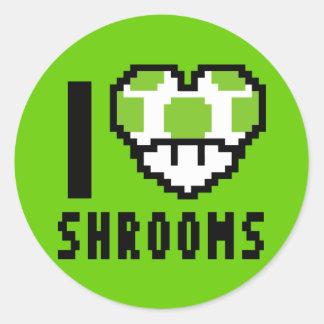 I Love Shrooms - Round Sticker