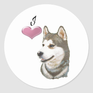 I love Siberian Husky Dog art design Classic Round Sticker