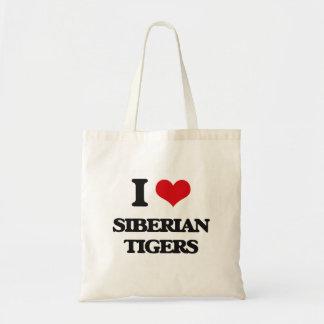 I love Siberian Tigers Canvas Bag
