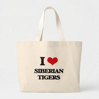 I love Siberian Tigers Tote Bags