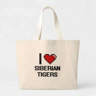 I love Siberian Tigers Digital Design Jumbo Tote Bag