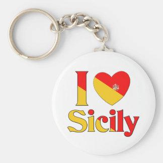 I love Sicily Basic Round Button Key Ring