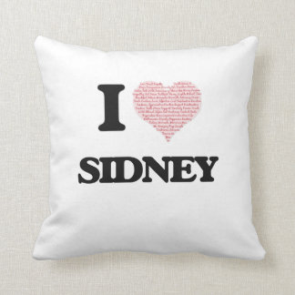 I Love Sidney (Heart Made from Love words) Cushions