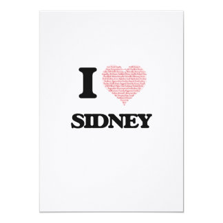 I love Sidney (heart made from words) design 13 Cm X 18 Cm Invitation Card