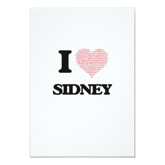 I love Sidney (heart made from words) design 9 Cm X 13 Cm Invitation Card