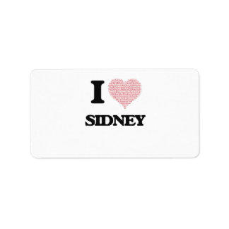 I love Sidney (heart made from words) design Address Label