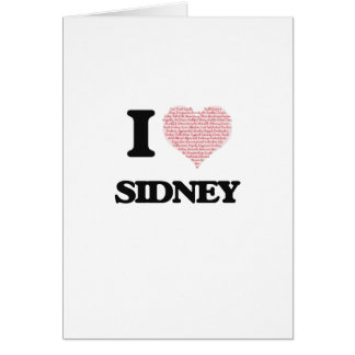 I love Sidney (heart made from words) design Greeting Card
