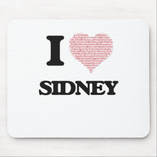 I love Sidney (heart made from words) design Mouse Pad