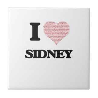 I love Sidney (heart made from words) design Small Square Tile