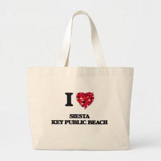 I love Siesta Key Public Beach Florida Jumbo Tote Bag