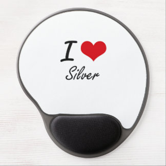 I Love Silver Gel Mouse Pad