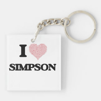 I Love Simpson Double-Sided Square Acrylic Key Ring