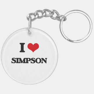 I Love Simpson Double-Sided Round Acrylic Keychain