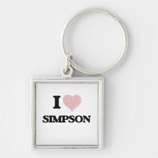 I Love Simpson Silver-Colored Square Key Ring