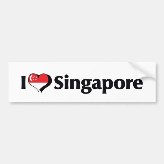 I Love Singapore Flag Bumper Sticker