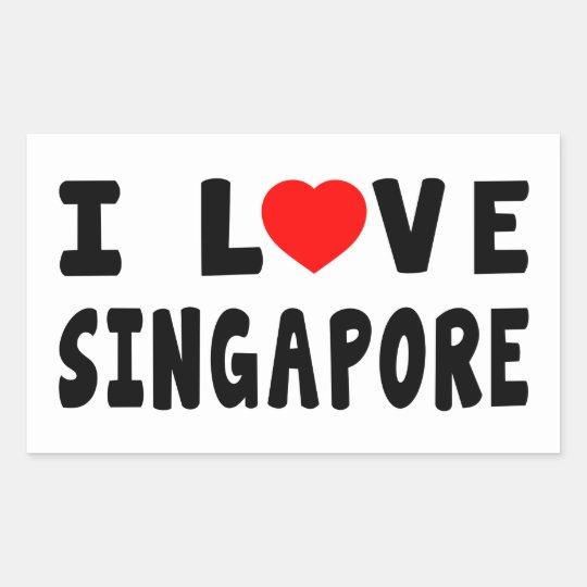 I Love Singapore Rectangular Sticker