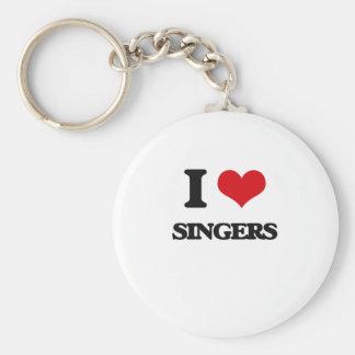 I Love Singers Basic Round Button Keychain