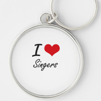 I Love Singers Silver-Colored Round Key Ring