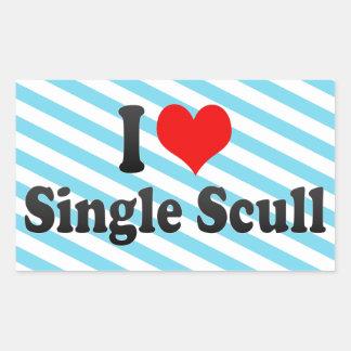 I love Single Scull Rectangular Stickers