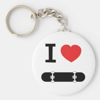 I love skateboarding basic round button key ring