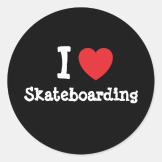 I love Skateboarding heart custom personalized Classic Round Sticker