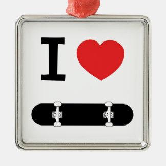 I love skateboarding Silver-Colored square decoration
