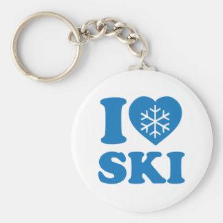 I Love Ski Basic Round Button Key Ring