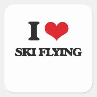 I Love Ski Flying Square Sticker