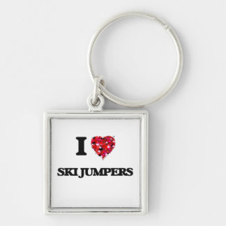 I love Ski Jumpers Silver-Colored Square Key Ring
