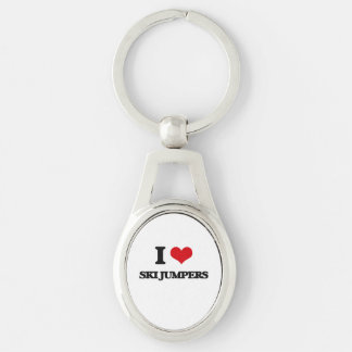I love Ski Jumpers Silver-Colored Oval Keychain