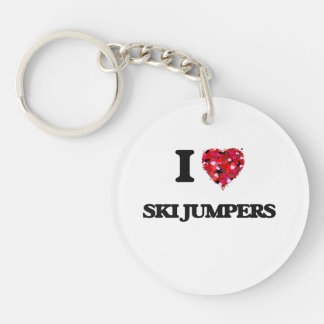 I love Ski Jumpers Single-Sided Round Acrylic Key Ring