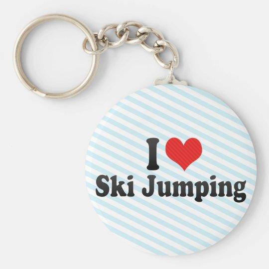 I Love Ski Jumping Basic Round Button Key Ring