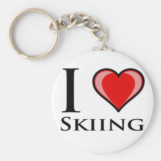 I Love Skiing Basic Round Button Key Ring