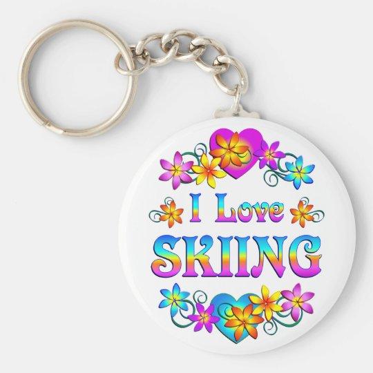 I Love Skiing Basic Round Button Key Ring
