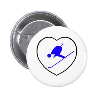 I Love Skiing Blue Skier White Heart 6 Cm Round Badge