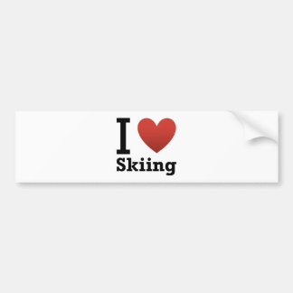 I Love Skiing Bumper Sticker