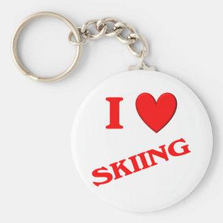 I Love Skiing Key Chains