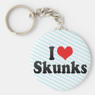 I Love Skunks Basic Round Button Key Ring