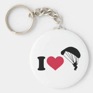 I love Sky diving Basic Round Button Key Ring