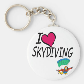 I Love Skydiving Basic Round Button Key Ring