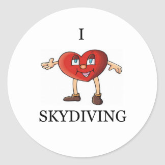 i love skydiving classic round sticker