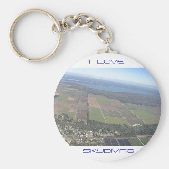 I Love Skydiving Keyring Basic Round Button Key Ring