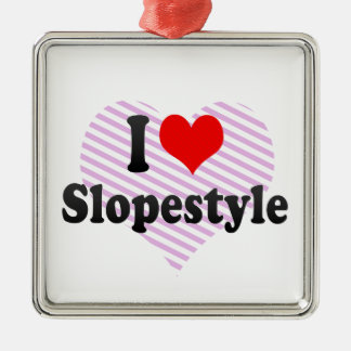 I love Slopestyle Silver-Colored Square Decoration
