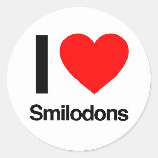 i love smilodons round sticker