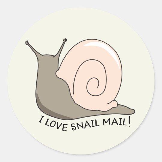 I Love Snail Mail Cute Round Sticker