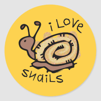 I Love Snails Classic Round Sticker