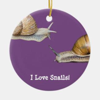 I Love Snails Snail Design Christmas Ornament