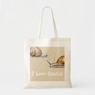I Love Snails Snail Design Tote Bag