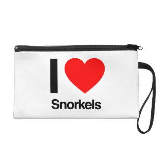 i love snorkels wristlet purse