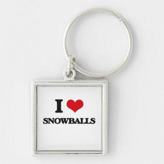 I love Snowballs Silver-Colored Square Keychain